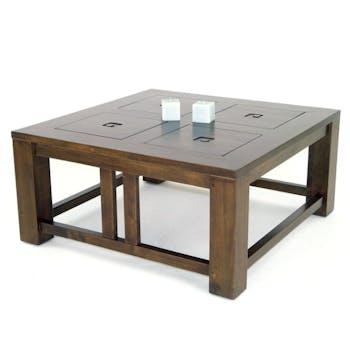 Table basse hévéa 80x80cm TESSA