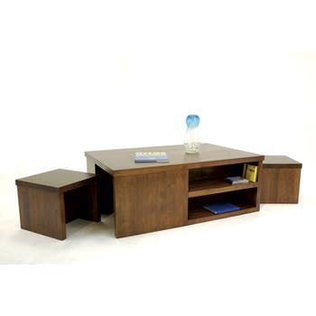 Table basse Hévéa avec niches + 2 tabourets à ranger sous la table 120x80x45cm HELENA