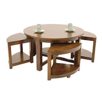 Table basse hévéa D90cm + 4 tabourets MAORI
