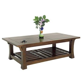 Table basse hévéa double plateaux 126x70cm MAORI