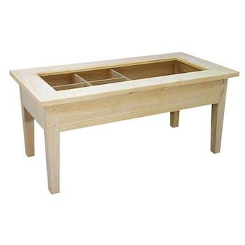 Table basse Hévéa plateau ouvrable vitré et bois 90x45x41cm TRADITION
