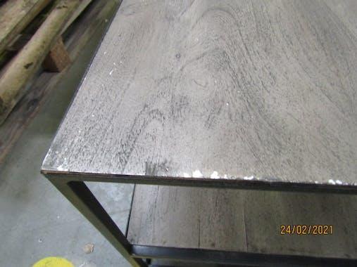 Table basse industrielle bois grisé OBAN