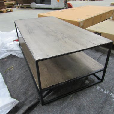 Table basse industrielle bois grisé OBAN