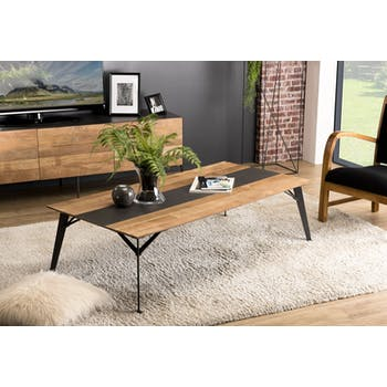 Table basse rectangulaire en bois et metal de style contemporain