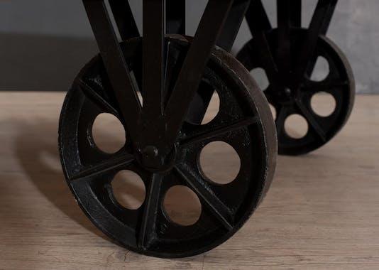 Table basse rectangulaire en bois avec roulettes metal style industriel