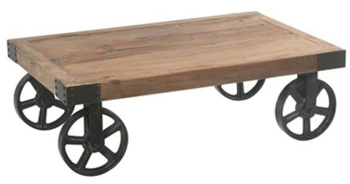 Table basse en bois et metal avec roulettes style industriel
