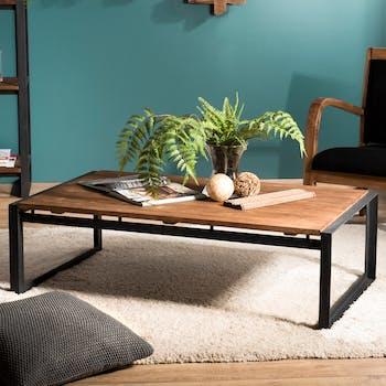Table basse rectangulaire en bois recyle et metal de style contemporain