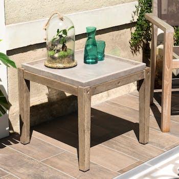 Table basse jardin acacia béton forme carrée PM SUMMER