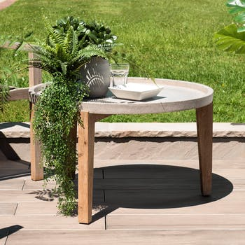Table basse jardin acacia béton forme ronde GM SUMMER