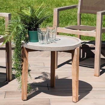 Table basse jardin acacia béton forme ronde PM SUMMER