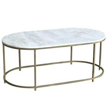 Table basse marbre blanc laiton 110 cm TORANO