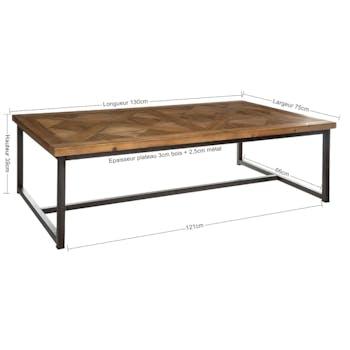 Table basse marqueterie 130 cm VARSOVIE