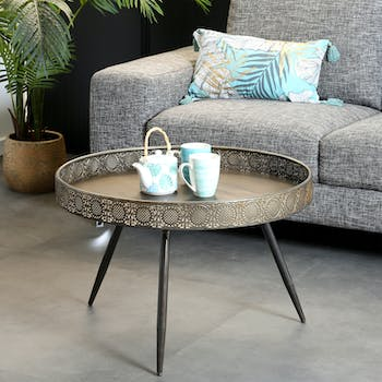 Table basse rone en metal couleur bronze de style oriental