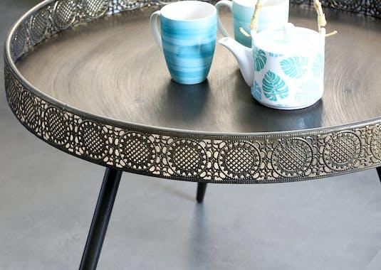 Table basse rone en metal couleur bronze de style oriental