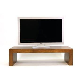 Table basse / Meuble finition TV Hévéa 135x45x36cm OLGA