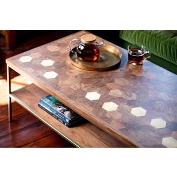 Table basse moderne acacia laiton HOBART