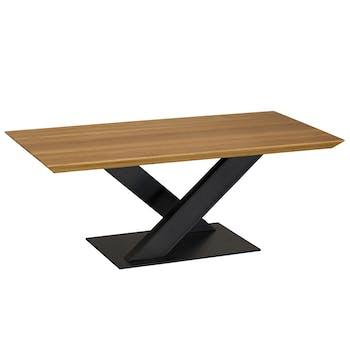 Table basse moderne bois pied en croix VOLGA