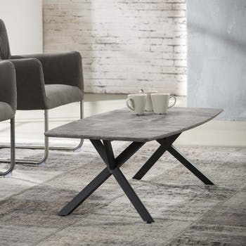 Table basse ovale effet beton pieds metal de style contemporain