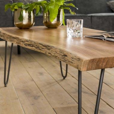 Table basse moderne en bois massif bordures naturelles MELBOURNE