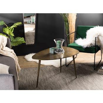 Table basse ovale en metal dore de style contemporain