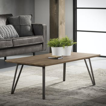 Table basse rectangulaire pieds metal de style contemporain