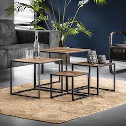 Table basse modulable carrée bois de récupération WELLINGTON (4 pièces)