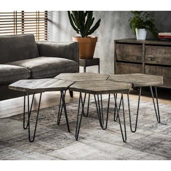 Tables basses gigogne en bois pieds metal epingles style contemporain