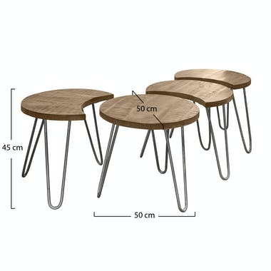 Table basse modulable ronde LUCKNOW