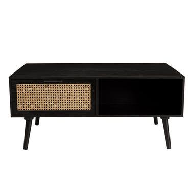 Table basse noire avec cannage PALMA 2