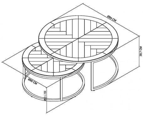 Table basse noire gigogne en marqueterie de bois VALLEY