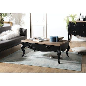 Table basse en bois recycle noir de style romantique