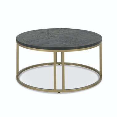 Table basse noire ronde en marqueterie de bois VALLEY