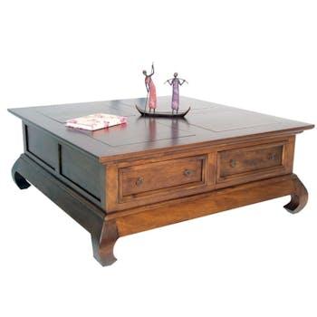 Table basse Opium 4 tiroirs hévéa 100x100cm MAORI