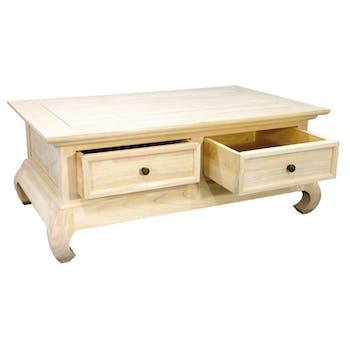 Table basse Opium Hévéa 2 tiroirs 120x60x40cm MAORI