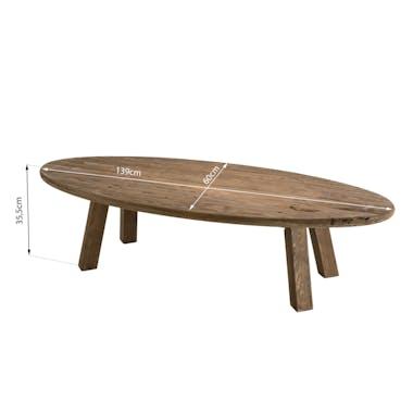 Table basse ovale en bois de pin recyclé DENVER