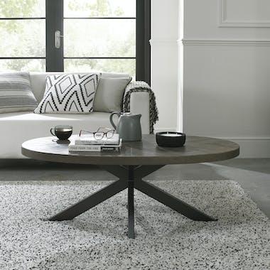 Table basse ovale en marqueterie de chêne ARLINGTON