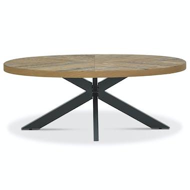 Table basse ovale en marqueterie de chêne finition bois naturel ARLINGTON 2