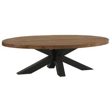 Table basse ovale en bois pied mikado en metal de style contemporain