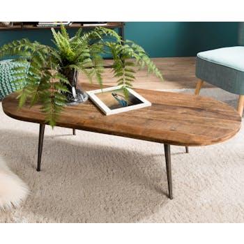 Table basse ovale en bois recycle et metal de style contemporain