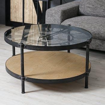 Table basse horloge en bois et metal de style industriel
