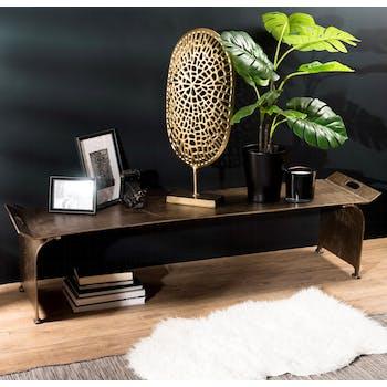 Table basse rectangulaire en metal dore de style contemporain