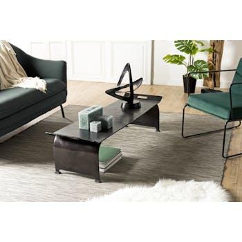 Table basse rectangulaire en metal noir de style contemporain