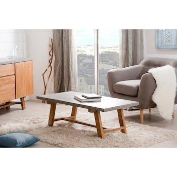 Table basse rectangulaire en beton et bois de style contemporain