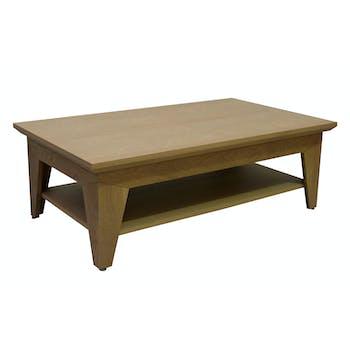 Table basse rectangle chic chêne finition amande naturelle double plateaux et pieds en équerre 120x70x40cm MANOIR