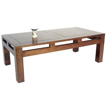 Table basse rectangle hévéa 120x60x40cm HELENA