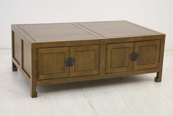 Table basse rectangle hévéa 125x75x46cm MAORI