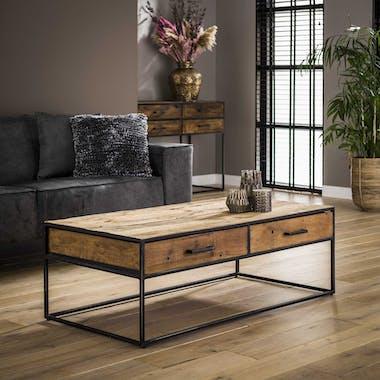 Table basse rectangulaire 2 tiroirs bois de récupération WELLINGTON