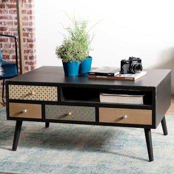 Table basse rectangulaire noire patchwork de style exotique
