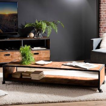Table basse rectangulaire bois recycle et metal avec roulettes style contemporain