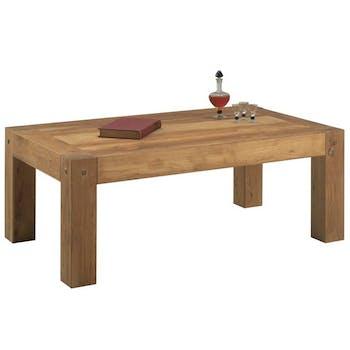 Table basse rectangulaire en bois de style campagne
